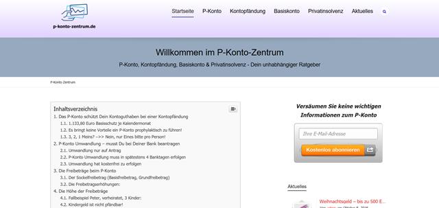 aktueller Screenshot der Webseite p-konto-zentrum.de