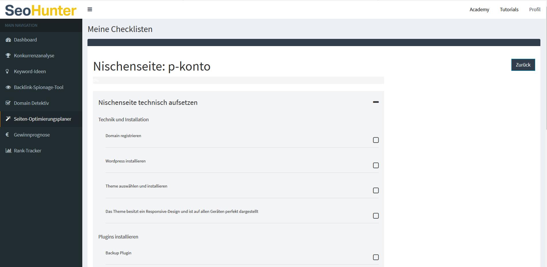 Seitenoptimierungsplaner von SEO HUnter