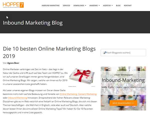 Liste der 10 besten Online Marketing Blogs auf hoppe7.de