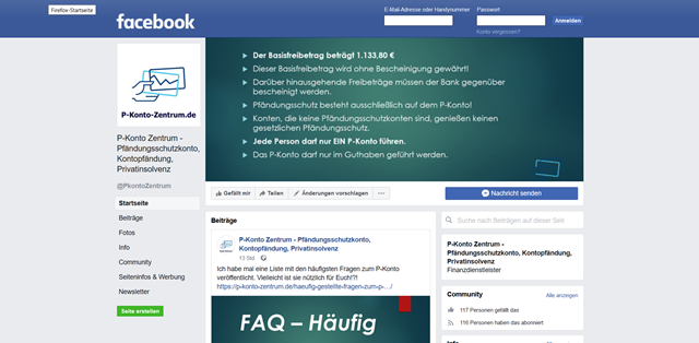 Screenshot der Facebook Fansite von p-konto-zentrum