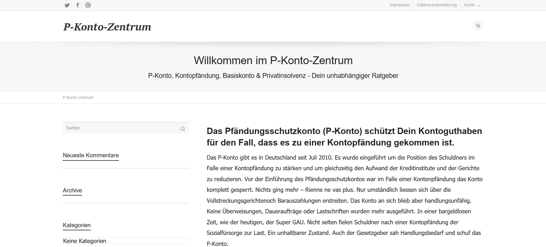 Screenshot p-Konto-Zentrum