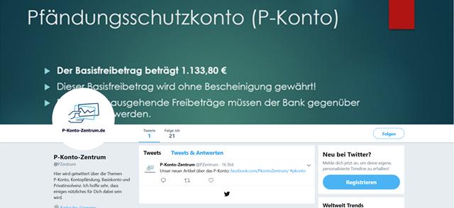 Twitter Auftritt von P-Konto-Zentrum.de