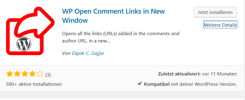 "Screenshot zum Plugin ""open comment links in new window"""
