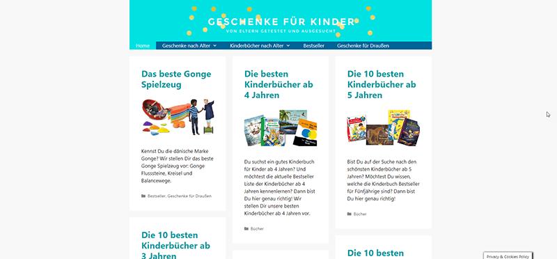 Nischenseiten Challenge 2020: Projekt 4: Johanna - Geschenkideen für Kinder