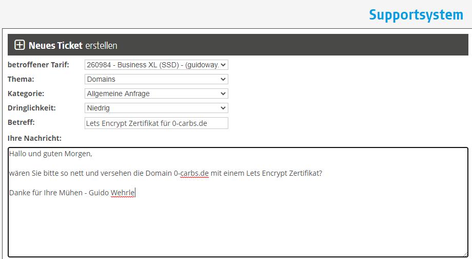 Bestellen des kostenlosen Let's Encrypt Zertifikats