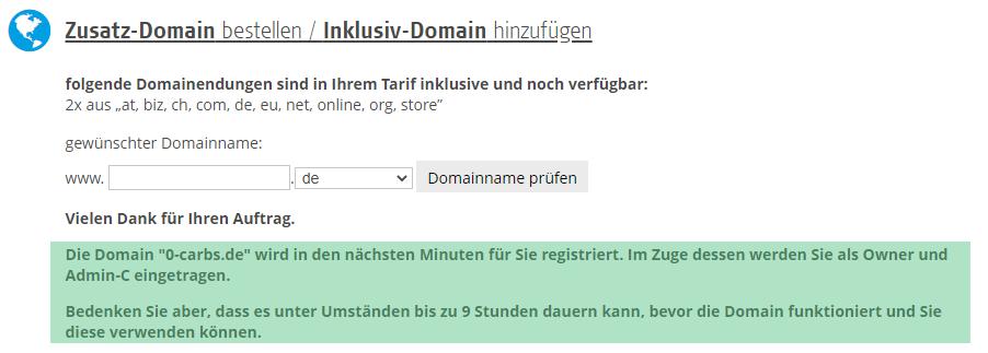 Jetzt ist die Domain erfolgreich registriert