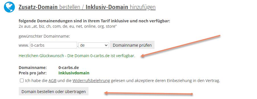 Erfolgreiche Domainüberprüfung von Zero Carbs de