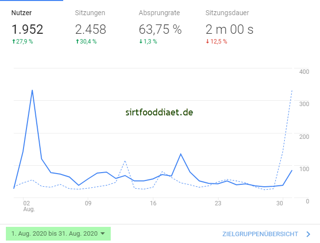Besucherzahlen von sirtfooddiaet.de von August 2020
