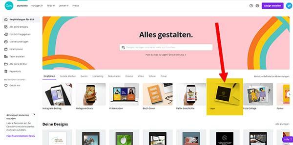 Startseite von canva.com