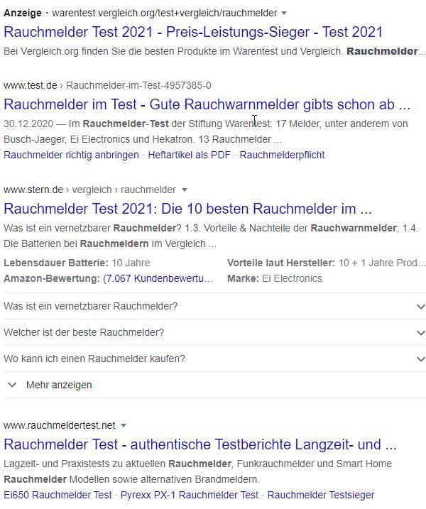 Google Suchergebnisse zu Rauchmelder Test