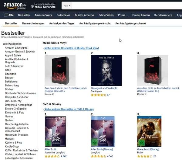 Screenshot von Amazon Bestseller