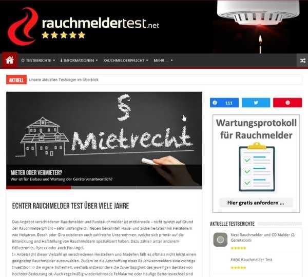 Screenshot von rauchmeldertest.net