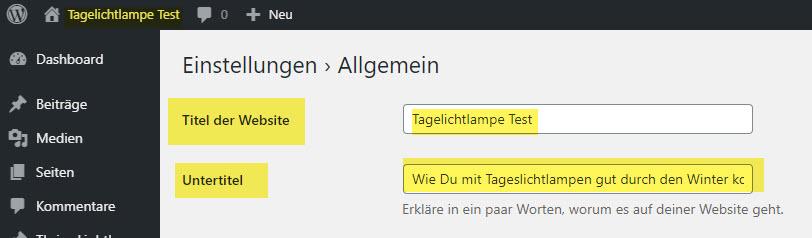 Screenshot zu den WordPress Einstellungen